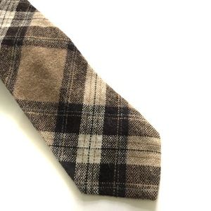 Vintage Men's Wool Necktie Beige & Black Plaid 👔